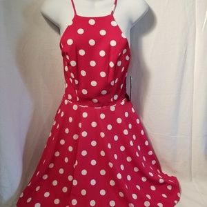 City Studio Sundress Red With White Polka Dots